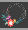 minimalist geometric frame with blooming flowers vector image vector image
