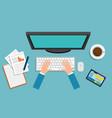 office workplace scene with desktop computer vector image