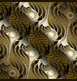 ornate gold brown 3d abstract seamless pattern vector image