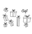 outline christmas gift box hand drawn set vector image
