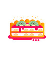 piece of layered delicious cake with fruit and vector image vector image