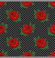 Rockabilly roses on polka dots seamless pattern