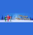 santa claus man woman elf helper holding gift box vector image vector image