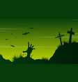 scary landscape graveyard on halloween vector image vector image