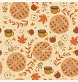 seamless pattern with apple pie apples and mugs vector image