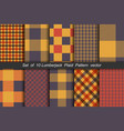 set of 10 options tartan seamless pattern vector image