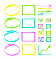 set of hand drawn highlight lines note objects vector image