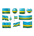set rwanda flags banners banners symbols vector image vector image