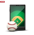 smartphone with baseball ball and field on the vector image vector image