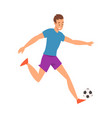 soccer player in sports uniform running with ball vector image vector image