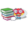 student with book spaghetti character cartoon vector image vector image