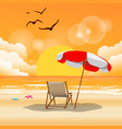 summer beach umbrella beach chair sunset backgroun vector image vector image