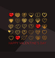 valentines day background with gold hand drawn vector image vector image