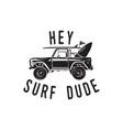 vintage surf logo print design for t-shirt vector image vector image