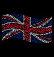 waving british flag collage of leaf branch items vector image