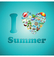 Love Heart Summer Holiday design set vector image