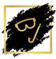 diving mask sign golden icon at black vector image