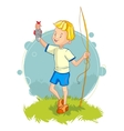 Little boy returning from fishing with fish eps10 vector image