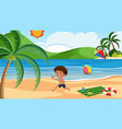 a boy playing kite at the beach vector image