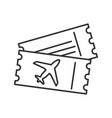 airplane tickets linear icon vector image