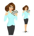 bank representative holding a fan of money vector image vector image