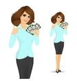bank representative holding a fan of money vector image vector image