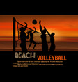 beach volleyball at beautiful sunset poster vector image vector image