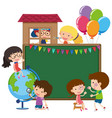 border template with kids and globe vector image vector image