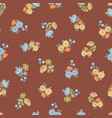 brown pattern with flowers vector image