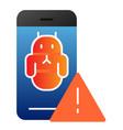 bug in smartphone flat icon smartphone virus vector image