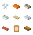 building material icons set cartoon style vector image vector image
