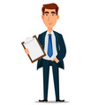 business man in formal suit holding clipboard vector image vector image
