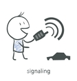 Cartoon boy puts the car on the alarm vector image
