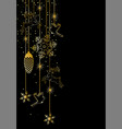 christmas banner with a gold garland on a black vector image