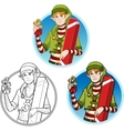 Christmas elf Caucasian boy with gift set vector image vector image