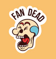 colorful skull sticker with fan dead lettering vector image vector image