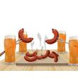 festival of beer light beer in glasses grilled vector image vector image