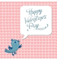 greeting happy Valentine day with blue bird vector image vector image