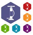 hand air pump icons set vector image
