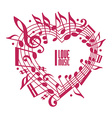 I love music concept single color design vector image vector image