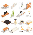 loft interior isometric set vector image