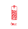 Love battery with hearts inside Card vector image vector image