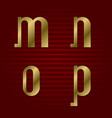 lowercase gold font isolated m n o p letters vector image