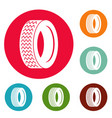 machine tire icons circle set vector image vector image
