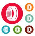 machine tire icons circle set vector image