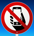 No mobile phones sign on blue vector image