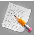 Orange pencil and checklist vector image vector image