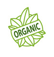 organic logo inscription on green leaves isolated vector image