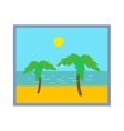 Palm tree on beach photo frame isolated vector image vector image