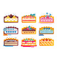piece of layered delicious cake set cakes with vector image vector image